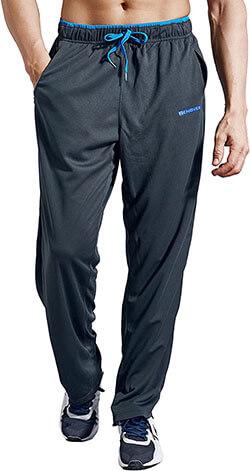 ZENGVEE Men's Zipper Pockets Sweatpants Open Bottom Athletic Pants