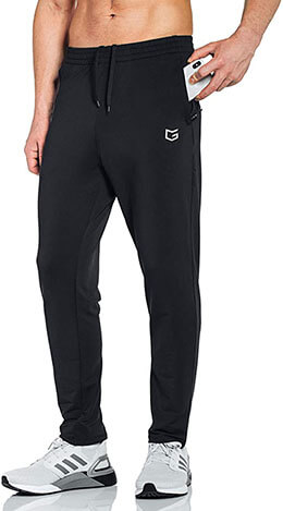 Men's Sweatpants with Zipper Pockets Tapered Track Athletic Pants for Men Running by G Gradual