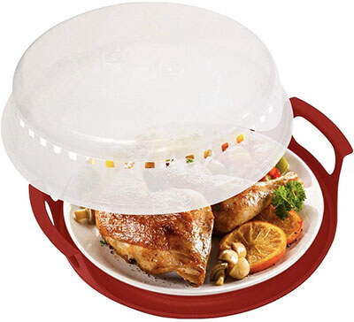 HerPro Microwave Cover and Plate Caddy