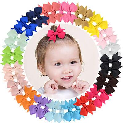 "ALinmo 40pcs Grosgrain Boutique Solid Color Ribbon Baby Girls Clips 2"""