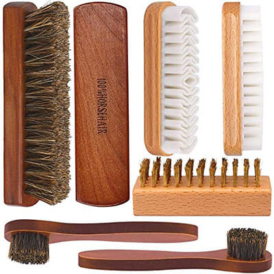 Brobery Shoe Brush with 100% Horsehair Brush
