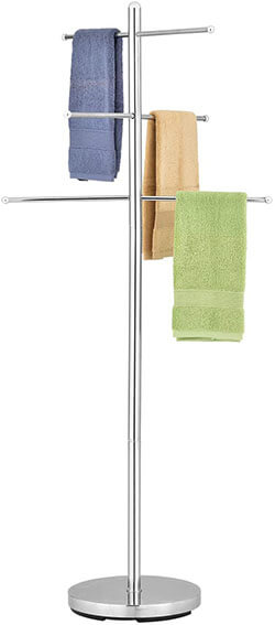 MyGift 6-Rung Luxury Chrome-Plated Towel Tree