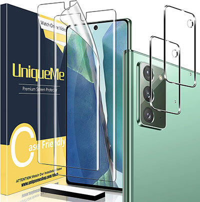 UniqueMe Soft TPU Screen Protectors for Galaxy Note20, 2 pack